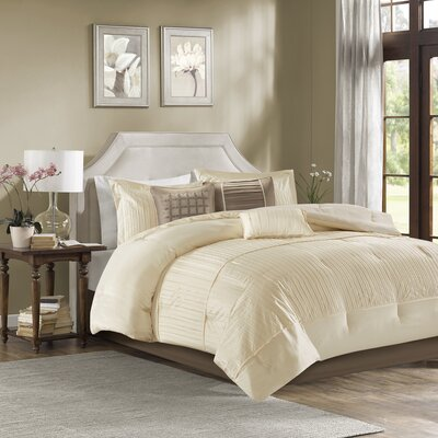 Quinn 7 Piece Comforter Set Size: Queen, Color: Ivory