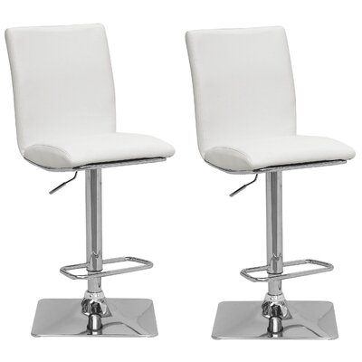 Chappelle Adjustable Height Swivel Bar Stool Upholstery: White
