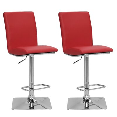 Chappelle Adjustable Height Swivel Bar Stool Upholstery: Red