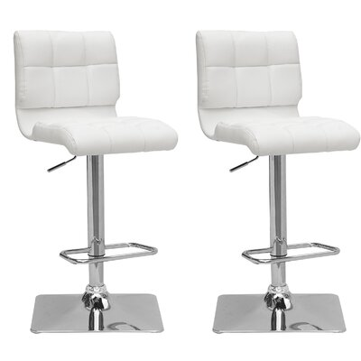Burnham Adjustable Height Swivel Bar Stool Upholstery: White