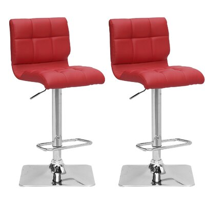 Burnham Adjustable Height Swivel Bar Stool with Cushion Upholstery: Red