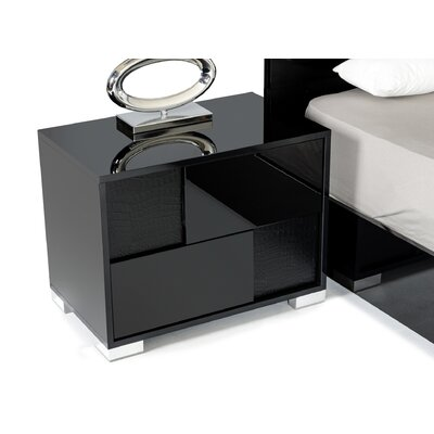Marley 2 Drawer Nightstand Finish: Black, Orientation: Left Facing