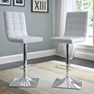 Martins Adjustable Height Swivel Bar Stool Upholstery: White