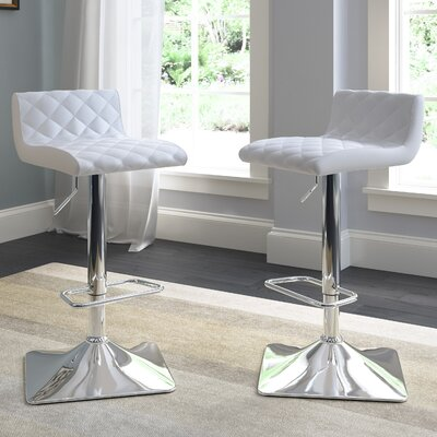 Aero Adjustable Height Swivel Bar Stool with Cushion Upholstery: White