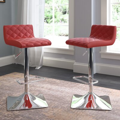 Aero Adjustable Height Swivel Bar Stool Upholstery: Red