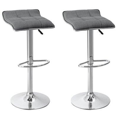Caseville Adjustable Height Swivel Bar Stool Upholstery: Gray