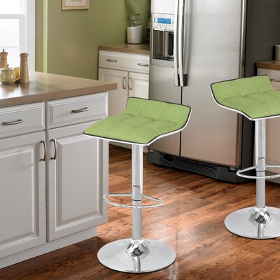 Caseville Adjustable Height Swivel Bar Stool Upholstery: Green