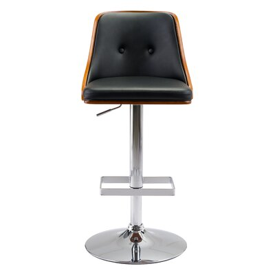 Buxton Adjustable Height Bar Stool Upholstery: Black