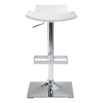 Stanford Adjustable Height Bar Stool Upholstery: White