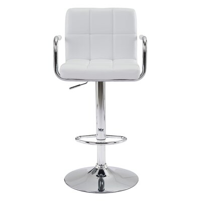 Somers Adjustable Heigh Bar Stool Upholstery: White