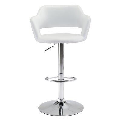 Springdale Swivel Bar Stool with Cushion Upholstery: White