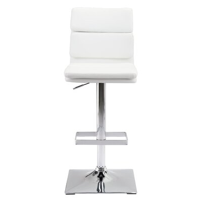 Demeter Adjustable Height Bar Stool Upholstery: White