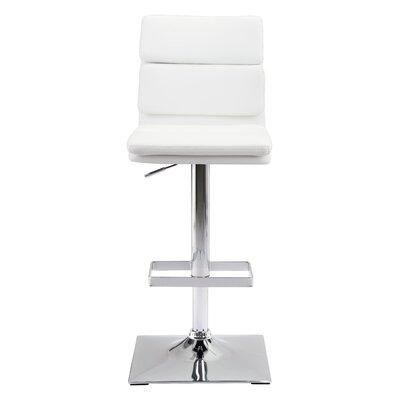 Demeter Adjustable Height Bar Stool Upholstery: White