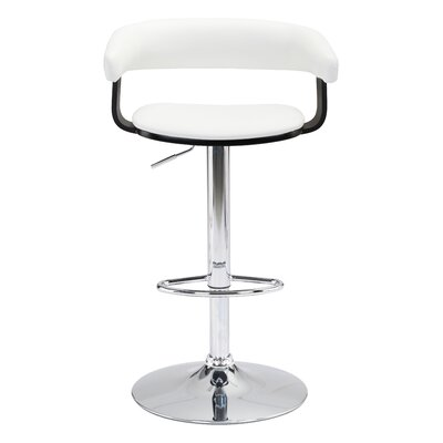 Socrates Adjustable Height Bar Stool Upholstery: White
