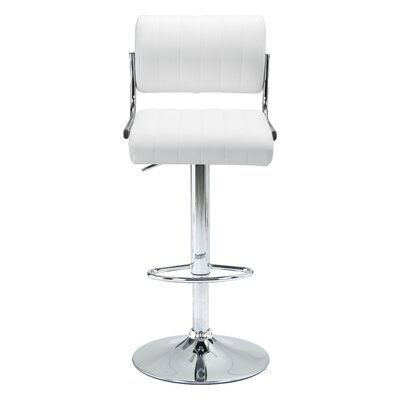 Springfield Adjustable Height Bar Stool Upholstery: White