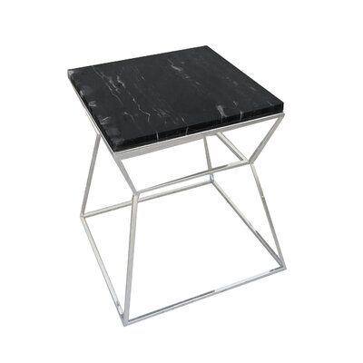 Cali End Table Base Color: Polished Metal, Top Color: Black