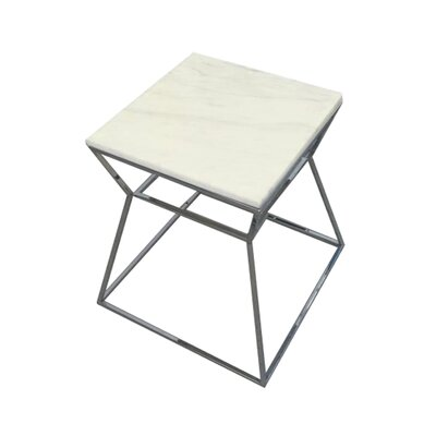 Cali Marble End Table Base Color: Polished Metal, Top Color: White