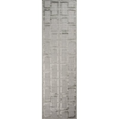 Roy Hand-Knotted Gray Area Rug Rug Size: Rectangle 36 x 56