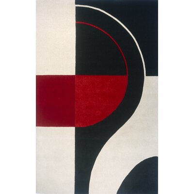 Miller Hand-Tufted Black/Red Area Rug Rug Size: Rectangle 36 x 56