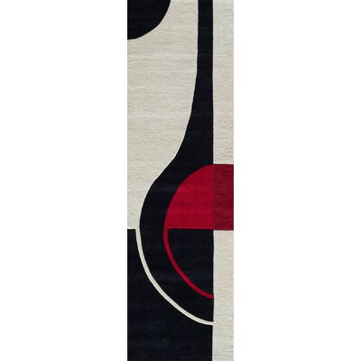 Miller Hand-Tufted Black/Red Area Rug Rug Size: Runner 23 x 8