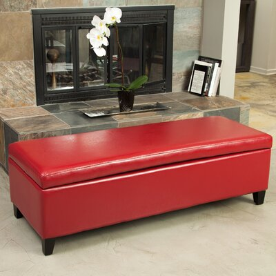 Boswell Upholstered Storage Bench Upholstery: Bright Red