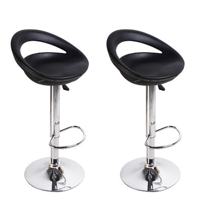 Morphis Adjustable Height Swivel Bar Stool Upholstery: Black