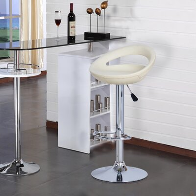 Morphis Adjustable Height Swivel Bar Stool Upholstery: Cream