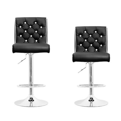 Elkton Adjustable Height Swivel Bar Stool Set Upholstery: Black with White Trims