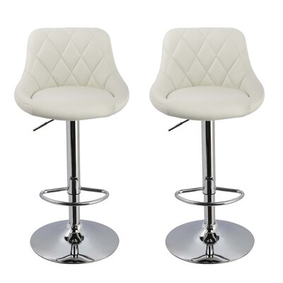 Acamar Adjustable Height Swivel Bar Stool Upholstery: White