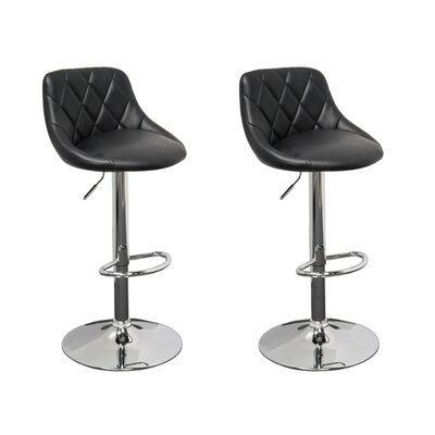 Acamar Adjustable Height Swivel Bar Stool Upholstery: Black