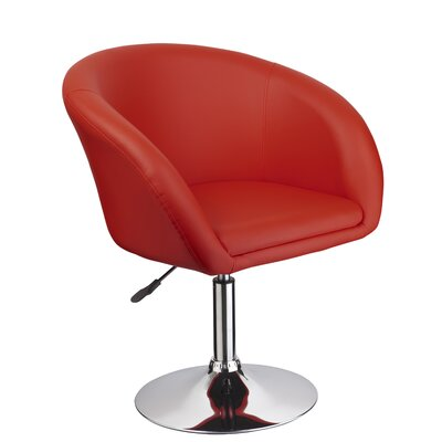 Mcphee Adjustable Swivel Barrel Chair Upholstery: Red