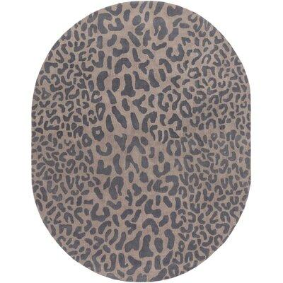 Macias Handmade Gray Animal Print Area Rug Rug Size: Oval 8 x 10