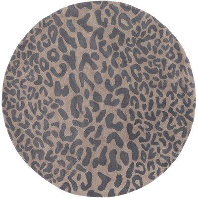 Macias Handmade Gray Animal Print Area Rug Rug Size: Round 6