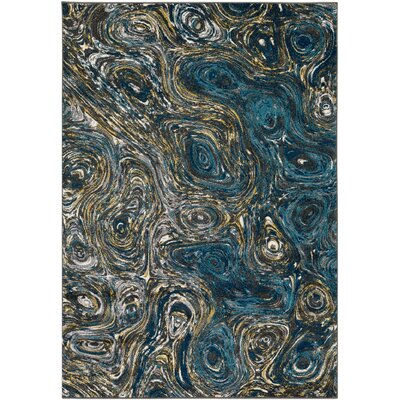 Callisto Blue/Charcoal Area Rug Rug Size: Rectangle 2 x 3