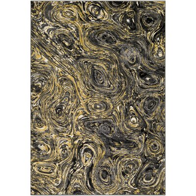 Callisto Yellow/Charcoal Area Rug Rug Size: Rectangle 53 x 76