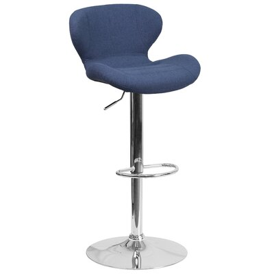 Mullaney Adjustable Height Swivel Bar Stool Seat Color: Blue