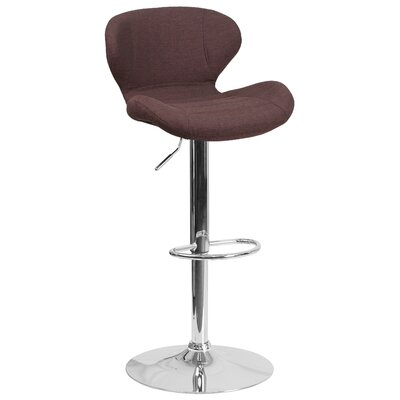Mullaney Adjustable Height Swivel Bar Stool Seat Color: Brown