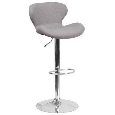 Mullaney Adjustable Height Swivel Bar Stool Seat Color: Gray