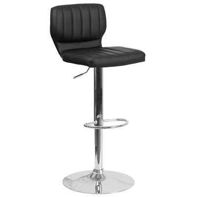 Aristocles Adjustable Height Swivel Bar Stool Color: Black