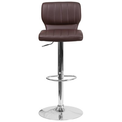 Aristocles Adjustable Height Swivel Bar Stool Color: Brown