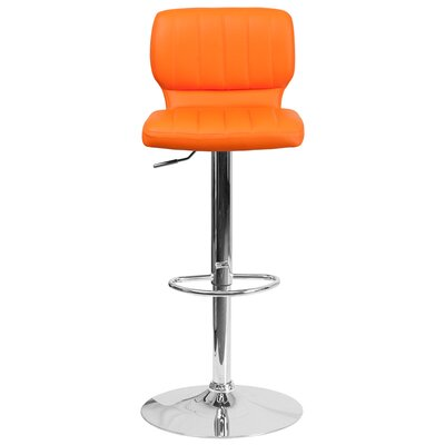 Aristocles Adjustable Height Swivel Bar Stool Color: Orange