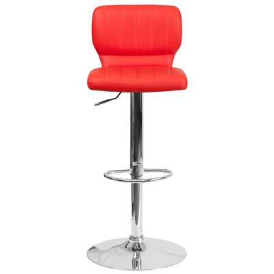 Aristocles Adjustable Height Swivel Bar Stool Color: Red