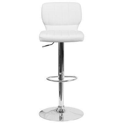 Aristocles Adjustable Height Swivel Bar Stool Color: White