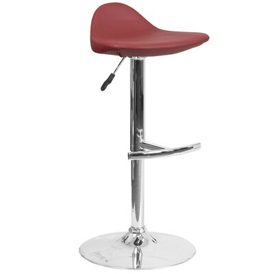 Steinway Adjustable Height Swivel Bar Stool Upholstery: Burgundy