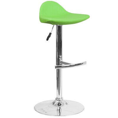 Steinway Adjustable Height Swivel Bar Stool Upholstery: Green