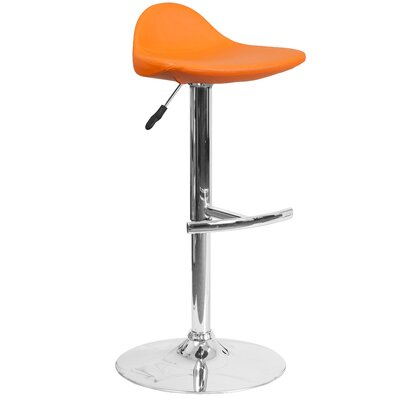 Steinway Adjustable Height Swivel Bar Stool Upholstery: Orange