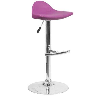 Steinway Adjustable Height Swivel Bar Stool Upholstery: Purple