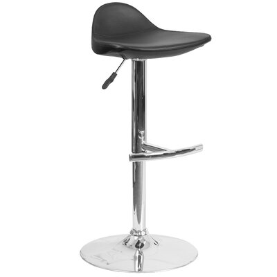 Steinway Adjustable Height Swivel Bar Stool Upholstery: Black