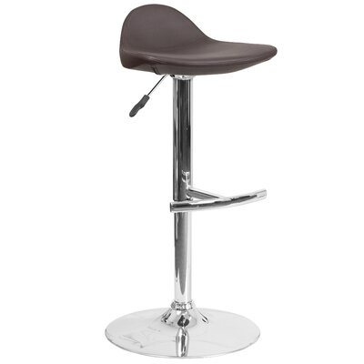 Steinway Adjustable Height Swivel Bar Stool Upholstery: Brown