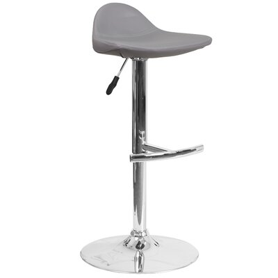 Steinway Adjustable Height Swivel Bar Stool Upholstery: Gray